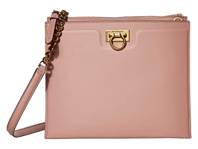 Salvatore Ferragamo Gancio Square Crossbody (Antique Rose) Handbags