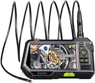 Doppelobjektiv Endoskop, Anykit NTS500, HD Wasserdichtes Endoskopkamera, 3500 mAh Akku, 5 Zoll IPS Bildschirm, Einstellbaren LED Licht Inspektionskamera, Halbstarres Kabel, 32GB TF Karte(9.8ft)