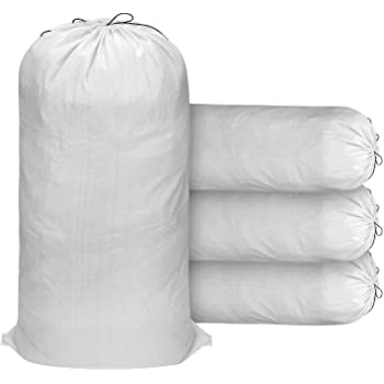 "20 Pack Heavy Duty Empty White Sand Bags With Ties and UV Protection Sandbags for Flooding Capacity Each, 100 Lb Construction /& More Woolsacks 18/"" x 30/"" Polypropylene Sand Bags"