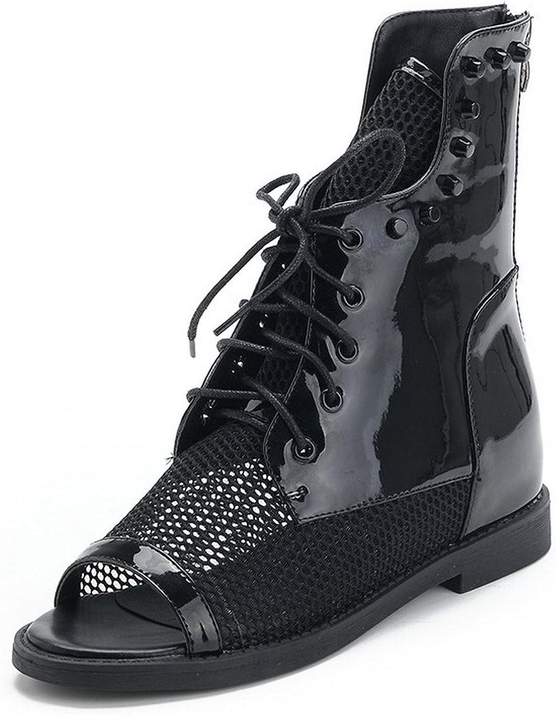 AmoonyFashion Women's Peep Toe Low Heel PU Patent Leather Solid Sandals with Fisherman, Black, 7.5 B(M) US