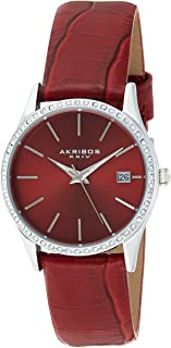 Akribos XXIV Women's AK883RD Round Red Dial Three Hand Quartz Stainless Steel Strap Watch