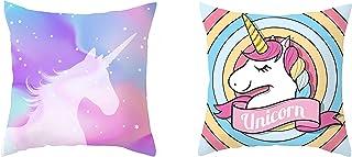 DASHH Juego de 2 fundas de cojín con diseño de unicornio, de 45 x 45 cm, para dormitorio de niña/sofá/cama (colección Unicornio)