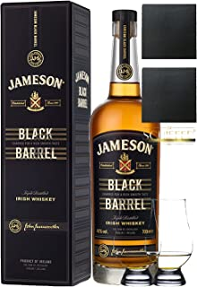 Jameson Select Reserve Black Barrel Small Batch 0,7 Liter 2 Glencairn Gläser und 2 Schiefer Glasuntersetzer 9,5 cm
