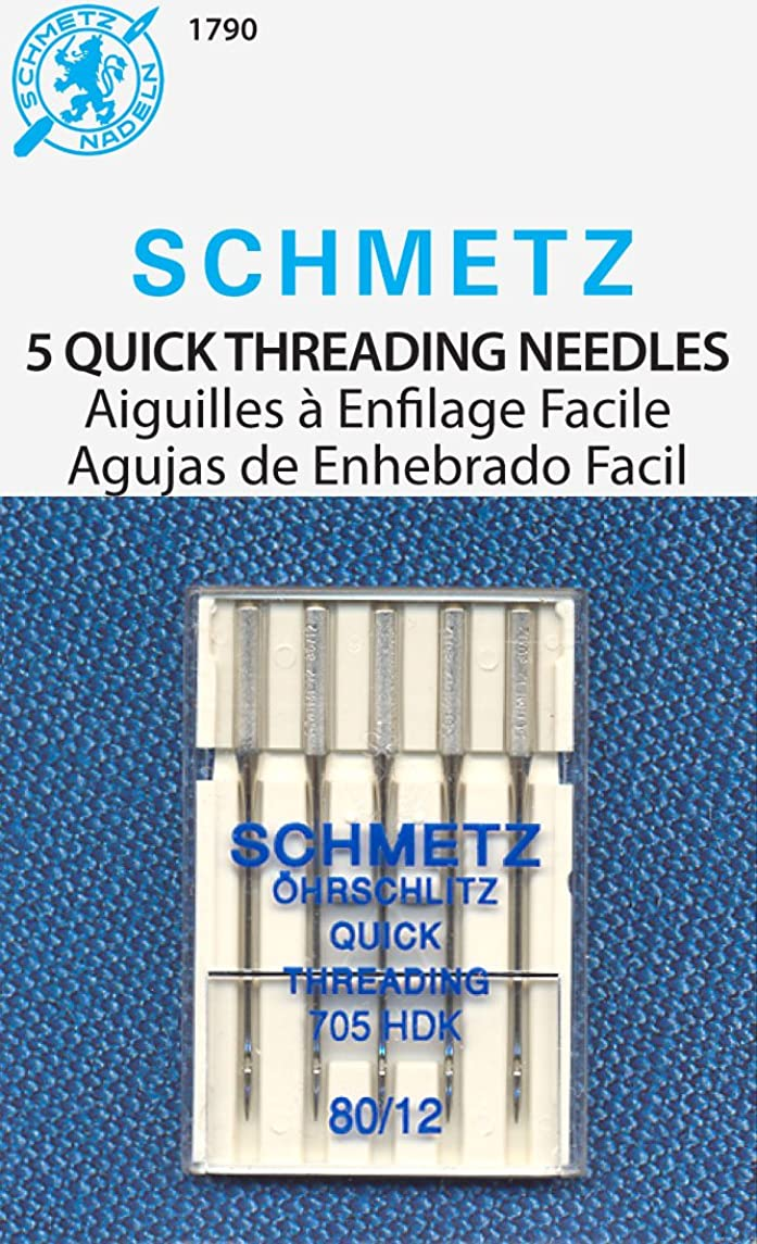 Euro Notions Self Threading Machine Needles (Size 12/80) - 5 per package by SCHMETZ