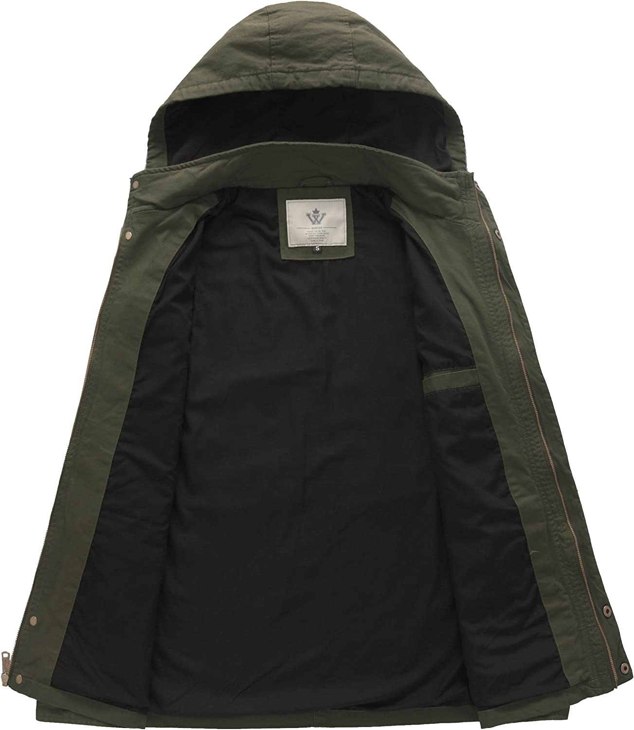 WenVen Mens Hooded Cotton Military Jackets