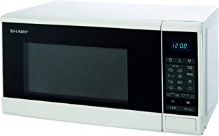 Sharp 20 Liter Blue LED Digital Solo Microwave, White R-20GM-WH3 with 8 Auto-Cooking Menu's