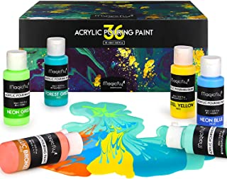 Magicfly 36 Colors Acrylic Pouring Paint (60ml/2 oz) Bottles, Pre-Mixed & Ready to Pour Acrylic Pouring Paint for Canvas, ...