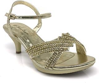 638e0e4bc0642 PROMI01 Women s Classic Elegant Low Mid Heels Criss Cross X Strap  Rhinestone Wedding Party Platform Open