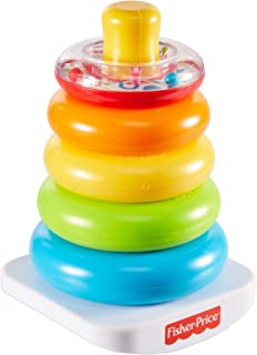 Fisher-Price Pyramide Arc-en-Ciel jouet bébé, favorise la coordination des gestes et l'apprentissage des couleurs, 6 mois ...