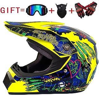 IKHNGLE Motocross Helmet DOT Adult Offroad Helmet Motocross Helmet Dirt Bike ATV Motorcycle Helmet Gloves Goggles