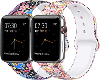 [2 Pack] Sport Band Compatible with Apple Watch Band 38mm 42mm 40mm 44mm, Soft Silicone Replacement Sport Wristband Strap for iWatch Series 4/3/2/1