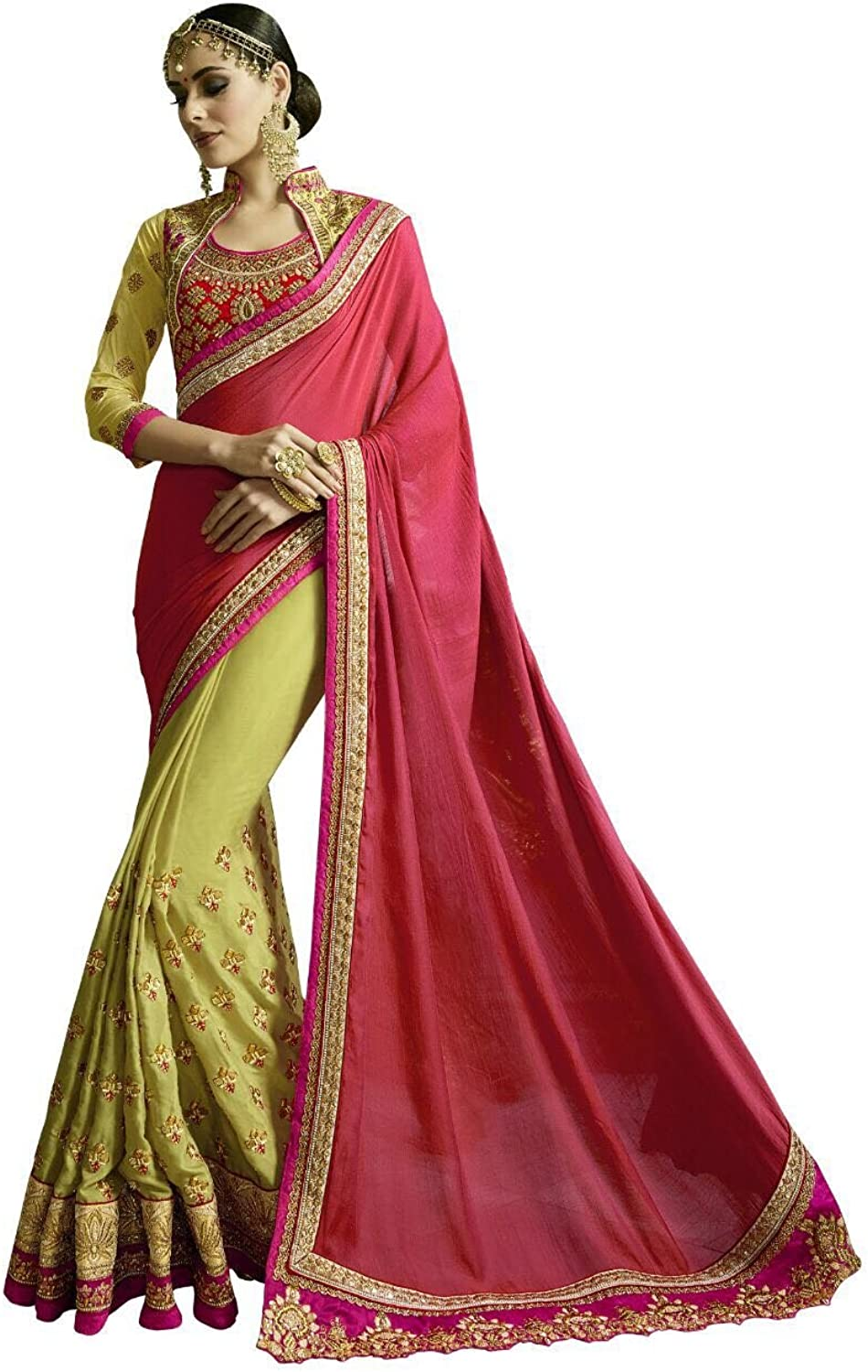 BOLLYWOOD DESIGNER NEW FASHION STYLISH SAREE SARI WITH EMBROIDERY BLOUSE WEDDING CEREMONY PARTY WEAR INDIAN MUSLIM WOMEN BY BALAJI EMPORIUM 365