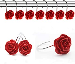 FINROS 12 PCS Home Fashion Decorative Anti Rust Shower Curtain Hooks Rose Design Rings