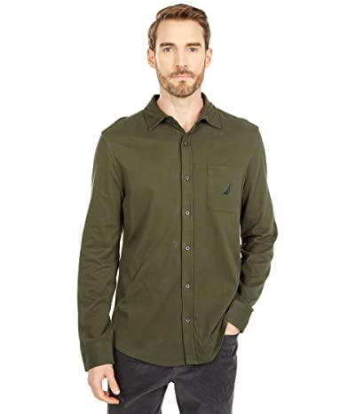 Nautica Long Sleeve Woven Shirt (Forest Night) Men