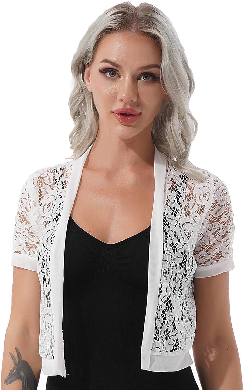 TSSOE Women's Lace Shrug Sheer Crochet Crop Tops Short Sleeve Open Front Bolero Cardigan Jacket