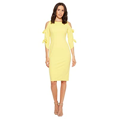 Donna Morgan Crepe Midi Long Sleeve with Tie Detail (Sunny Yellow) Women
