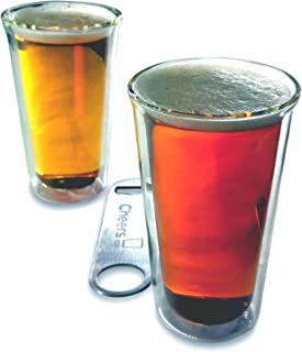 Craft Beer Glass Set 2 Double Wall Insulated Real Glass Tumblers 14 Ounce Pint Shape 2-Pack Set with 7 Inch Stainless Steel Speed Bottle Opener by Princeton Wares