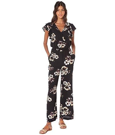 1.STATE Flounce Sleeve Floral Mirage Wrap Jumpsuit (Desert Sand) Women