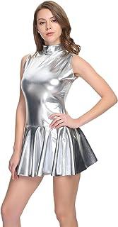 فستان نسائي لامع بدون أكمام من وولف UNITARD فساتين معدنية
