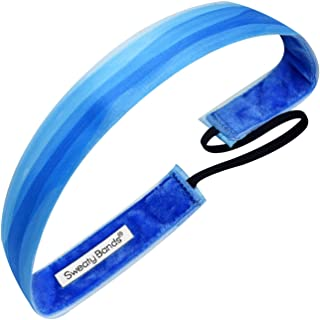 Sweaty Bands Womens and Girl Headband - Non-Slip Velvet-Lined Athletic Hairband - Watercolors Blue 1-Inch