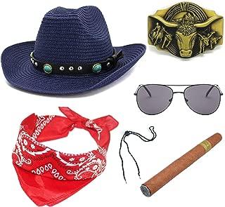 ZeroShop Western Cowboy Straw Costume Hat w/Silver Conchos,Sunglass, Bull Belt Buckle,Cowboy Cigar,Cowgirl Bandanna