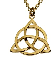 "product image for From War to Peace Delicate Celtic Trinity Knot Gold-Dipped Pendant Necklace on 18"" Rolo Chain"