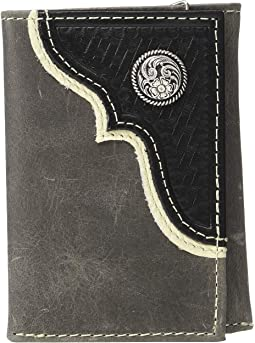 Nocona Corner Overlay w/ Round Concho Trifold Wallet