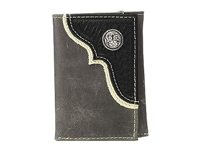 M&F Western Nocona Corner Overlay w/ Round Concho Trifold Wallet (Black) Handbags