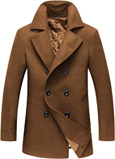 Men's Classic Notched Collar Double Breasted Wool Blend Pea Coat
