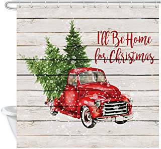 """Christmas Red Retro Truck Shower Curtain, Vintage Car with Xmas Tree in Snowy Winter on Rustic Wooden Fabric Bathroom Shower Curtain, New Year Fantastic Bath Curtain Decorations with Hooks, 69""""X70"""