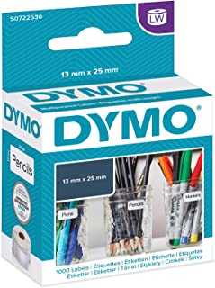 Dymo 13 mm x 25 mm LW Small Multi-Purpose Labels, Roll of 1000 Easy-Peel Labels, Self-Adhesive, for LabelWriter Label Makers, Authentic