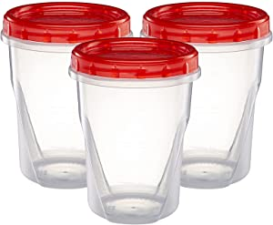 (32 Ounce 10 Pack) Twist cap Deli Containers Clear Bottom With Red Top Screw on Lids Twist Top Food Storage Freezer Containers