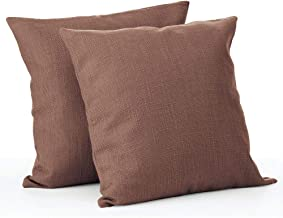 mDesign Solid Color Decorative Faux Linen Throw Pillow Cover Cushion Cover Pillowcase for Couch Sofa Bed; 18 x 18 inches; ...