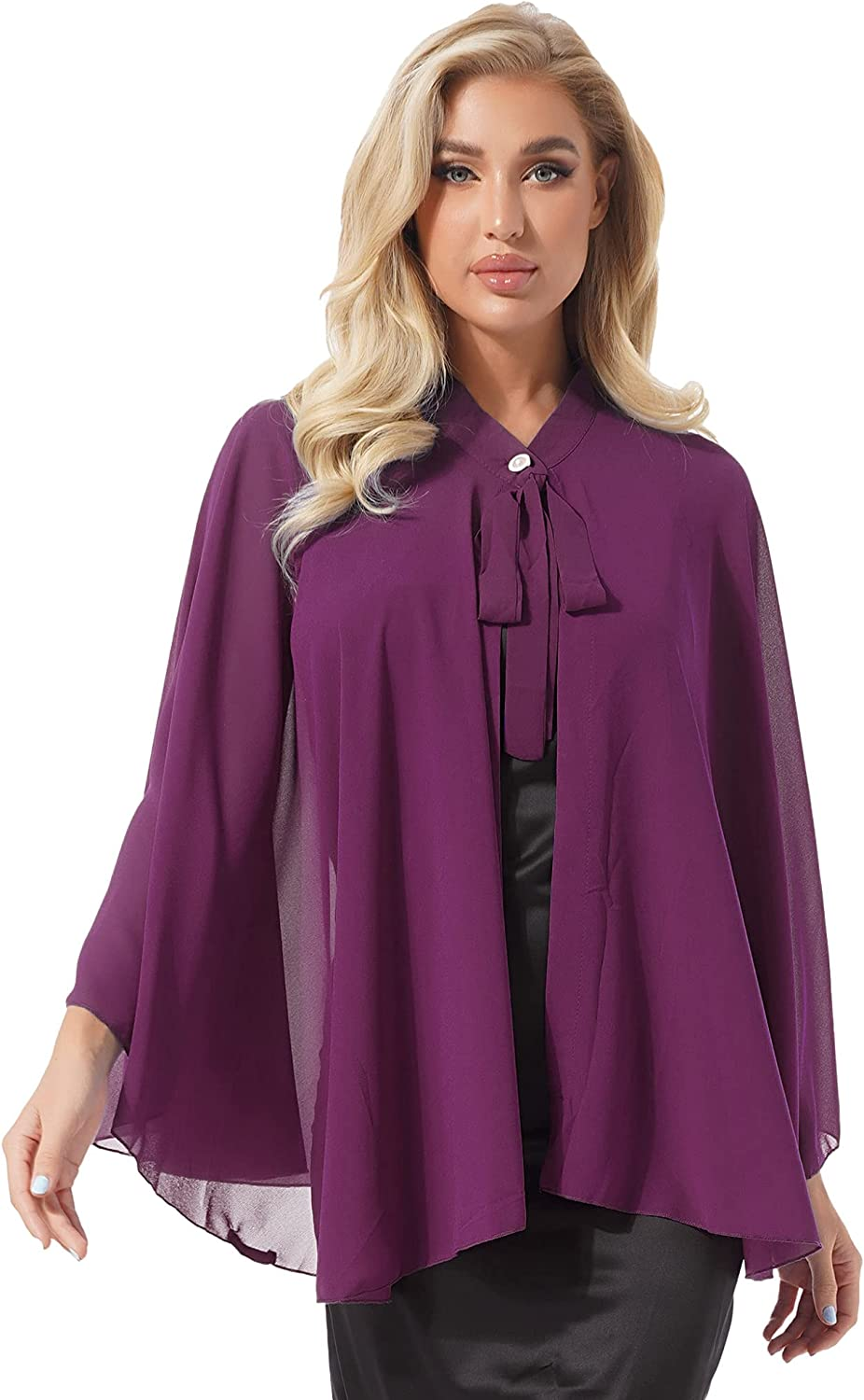 XUNZOO Women's Dressy Poncho Lightweight Tie Up Semi Sheer Formal Shrug Overlay Shawl Cover Up Top