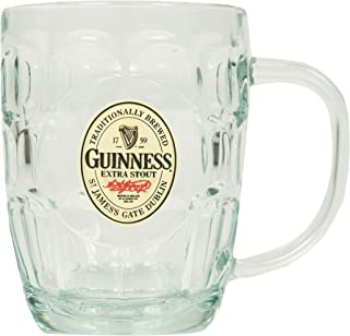 Guinness Hobnail Tankard - Classic Glass Beer Mug with Handle