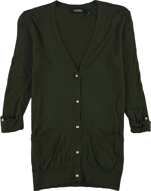 Ralph Lauren Womens Long Sleeve Cardigan Sweater, Green, Small