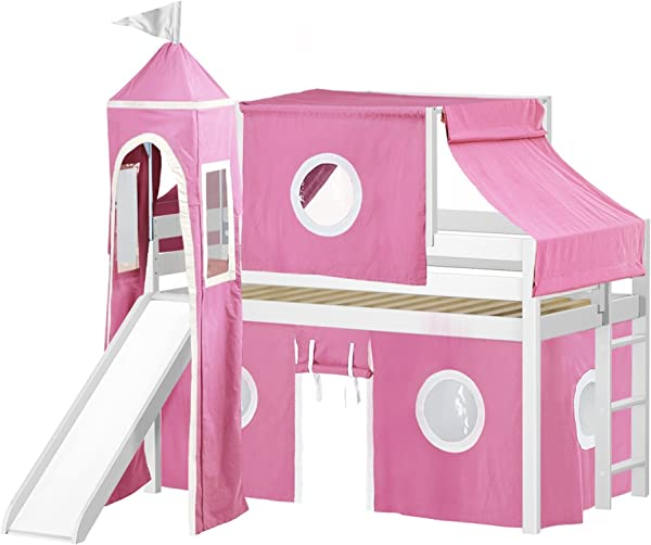 JACKPOT Princess Low Loft Bed With Slide Pink White Tent And Tower Loft Bed Twin White
