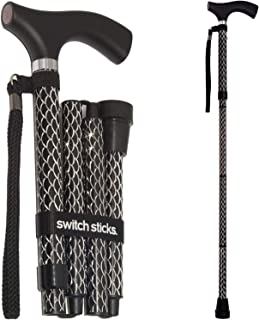 Switch Sticks Adjustable Folding Walking Cane and Walking Stick Collapses and Adjusts from 32 to 37 inches, Engraved Soiree