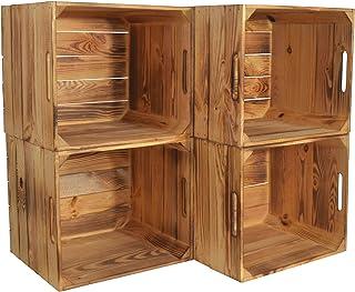 CHICCIE Kallax Karl Lot de 4 boîtes de rangement en bois flammé 33 x 38 x 33 cm