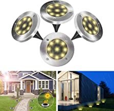 Solar Lights Outdoor YUNLIGHTS Solar Garden Ground Lights 9LED 4PCS Yard Disk Light Landscape Lighting Stainless Steel Waterproof for Driveway Yard Patio Pathway Lawn Walkway, Gift for Christmas