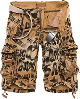 Esast Mens Casual Cargo Shorts Slim Fit Outdoors Pocket Beach Work Trousers Short Pants