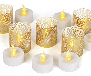 12Pack LED Tea Lights Realistic and Bright Battery Operated Flickering Flameless Tea Light Led Candles, Batteries Included,Warm White (Warm White)