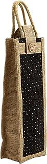 Asian Jute Wine Bottle Gift Bag/Bottle Carry Bag/Water Bottle Cover-velcro closure and Handle for men & women (Pack of 2)