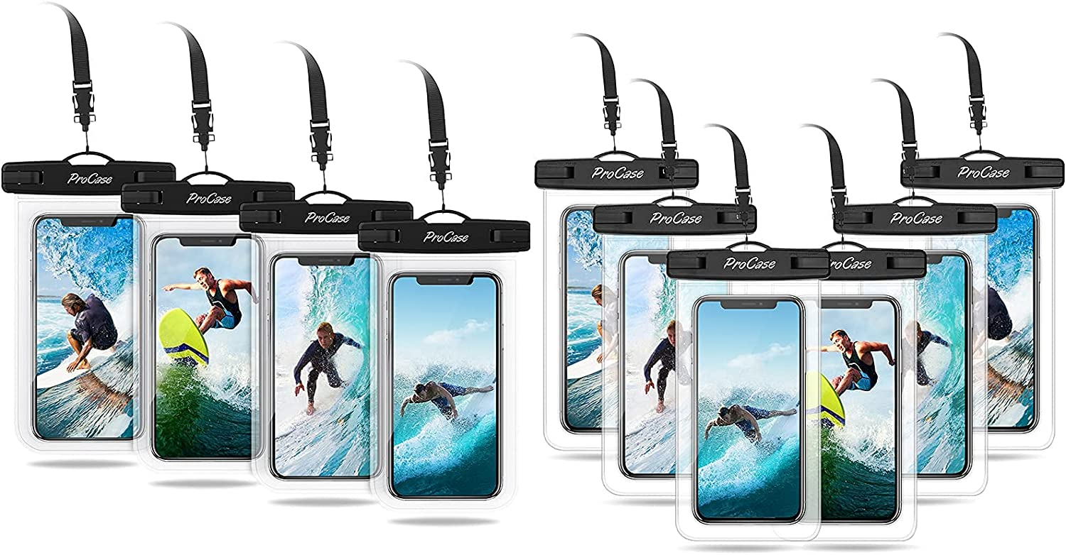 4 Pack ProCase Universal Cellphone Waterproof Pouch Dry Bag Underwater Case Bundle with 6 Pack ProCase Universal Waterproof Pouch Cellphone Dry Bag Underwater Case
