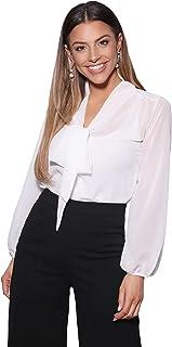 ea2a9f42e415e KRISP® Women Chiffon Long Sleeve Blouse Buttoned Shirt Tie Front Casual Tops