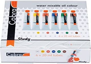 Royal Talens Cobra Artists' Water Mixable Oil Color Set, 20ml Tubes, 6 Assorted Colors (25820406)