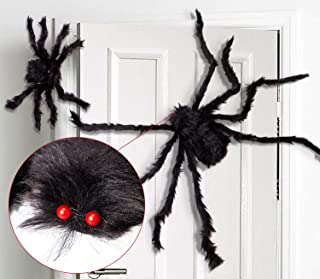 Thanks Halloween Decorations 2.5 Ft. Giant Halloween Spider Black Spider 75cm Large Spider Haunted House Prop Plush Spider Scary Decoration, Virtual Realistic Hairy Spider