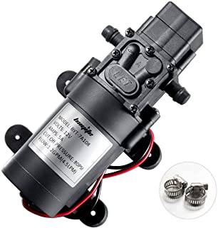 bayite 12V DC Fresh Water Pump with 2 Hose Clamps 12 Volt Diaphragm Pump Self Priming Sprayer Pump with Pressure Switch 4.5 L/Min 1.2 GPM 80 PSI Adjustable for RV Camper Marine Boat Lawn