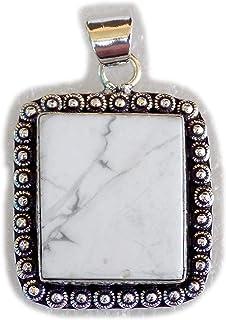 Howlite Pendant, Silver Plated Brass Pendant, Handmade Pendant, Gift Jewelry, Women Jewellry, Fashion Jewellry, BRS-12374