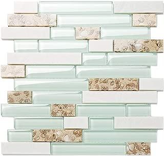 TST Aqua Marine Glass White Stone Tile Seashell Mother of Pearl Inlay Beach Style House Accent Wall Backsplash Art Decor Mosaic Tile TSTMGT085 (11 Square Feet)